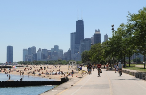 Chicago's Lakefront Trail and georgeous beaches prescribe the perfect fix for a hot sunny day in beautiful Chicago, Illinois.