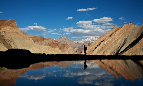 a trekker in the himalaya. Image shot 2010. Exact date unknown.