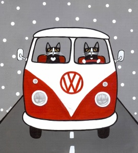 red-and-white-bus-original-cat-folk-art